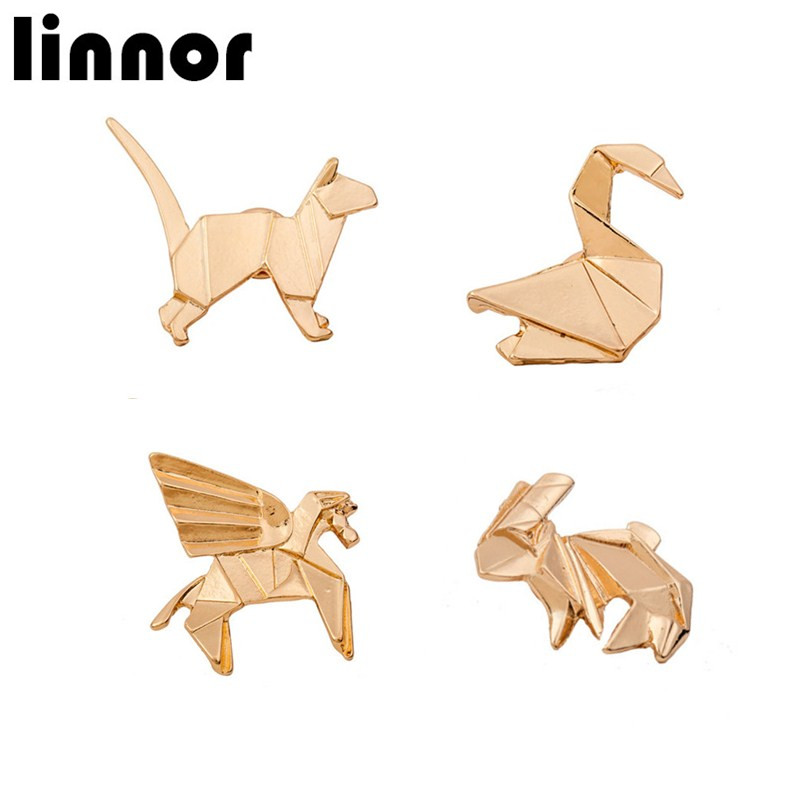 Linnor 2017 Origami Animal Brooch Pin 3D Origami Pegasus Bunny Cat Goose Gold Silver Metal Brosche Homme Suit Lapel Pin Brosh ...