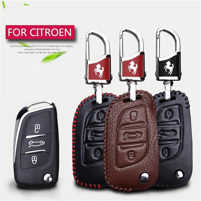 Genuine Leather Car Key Caso Della Copertura Per Citroen c4L C5 C3 C4 Xsara Picasso C8 Elysee Berlingo 3 Pulsanti Remote Key Chain supporto