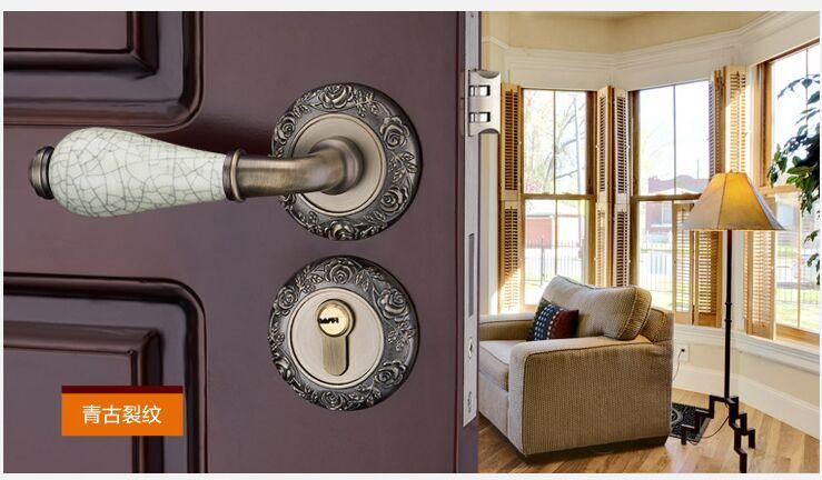 Модный механический замок для межкомнатной двери с Золотой резной розой, бронзовый, слоновой кости, белый, для спальни, кухни, из цельного дерева, для двери, керамический замок с ручкой