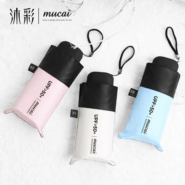 bda55b5f45c83 MUCAI Pocket Mini Umbrella Sunscreen Anti UV Five Folding Umbrellas Women  Men Brand Glassfiber Windproof Light Portable Parasol