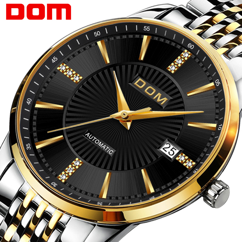 Mens Watches Top Brand Luxury Automatic Mechanical Watch DOM M-79 Men Steel Business Waterproof Sport Watches Relogio Masculino dom mens watches top brand luxury automatic mechanical watch hollow men s watch waterproof wristwatch relogio masculino