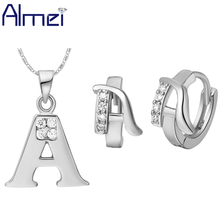 Almei Letter A B C D E F G H I J K L M N O P Q R S TU V W X Y Z Crystal Necklace Set Earrings Pendant Bridal Jewelry Sets T325