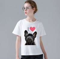 Funny Cute French Bulldog Kisses T Shirt Summer Women Girl Friend Gift Animal Printed T Shirt