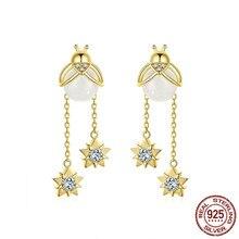 купить Insert Fireflies Drop Earrings For Women Crystal 925 Sterling Silver Tassel Dangle Earring Design Brand Jewelry Bse113 дешево