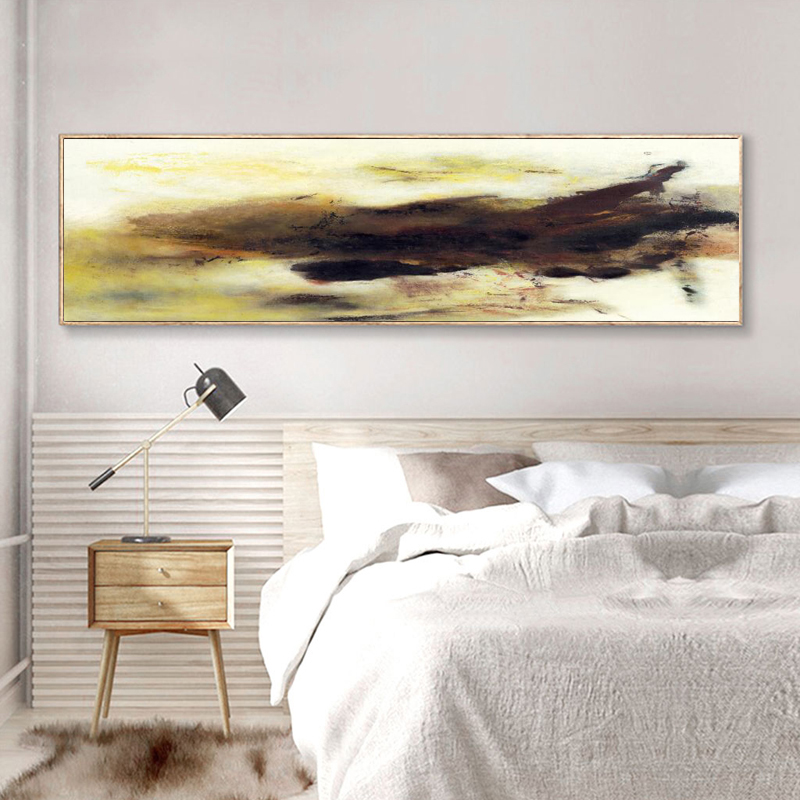 Posters and Prints Wall Art Canvas Painting Modern Abstract Oil Painting Yellow and Black Picture for Living Room Decor No Frame in Painting Calligraphy from Home Garden