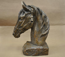 "SCY 12"" China Feng shui Zodiac Horse Bust Head Bronze Statue(China)"