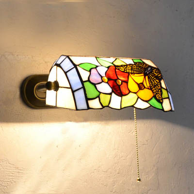 Stained glass painted coloured tiffany butterfly banker lamp wall stained glass painted coloured tiffany butterfly banker lamp wall sconce colour glass iron vintage antique aloadofball Gallery