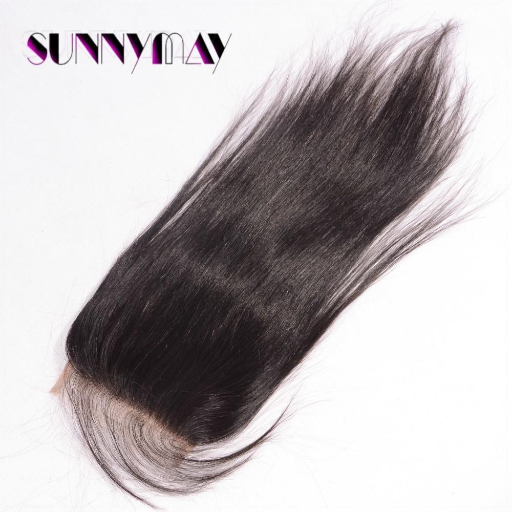 sunnymay волосы 7а естественный цвет прямые волосы бразильский виргинский человеческие волосы 4х4 топ кружева закрытие с отбеленные узлы волосы младенца