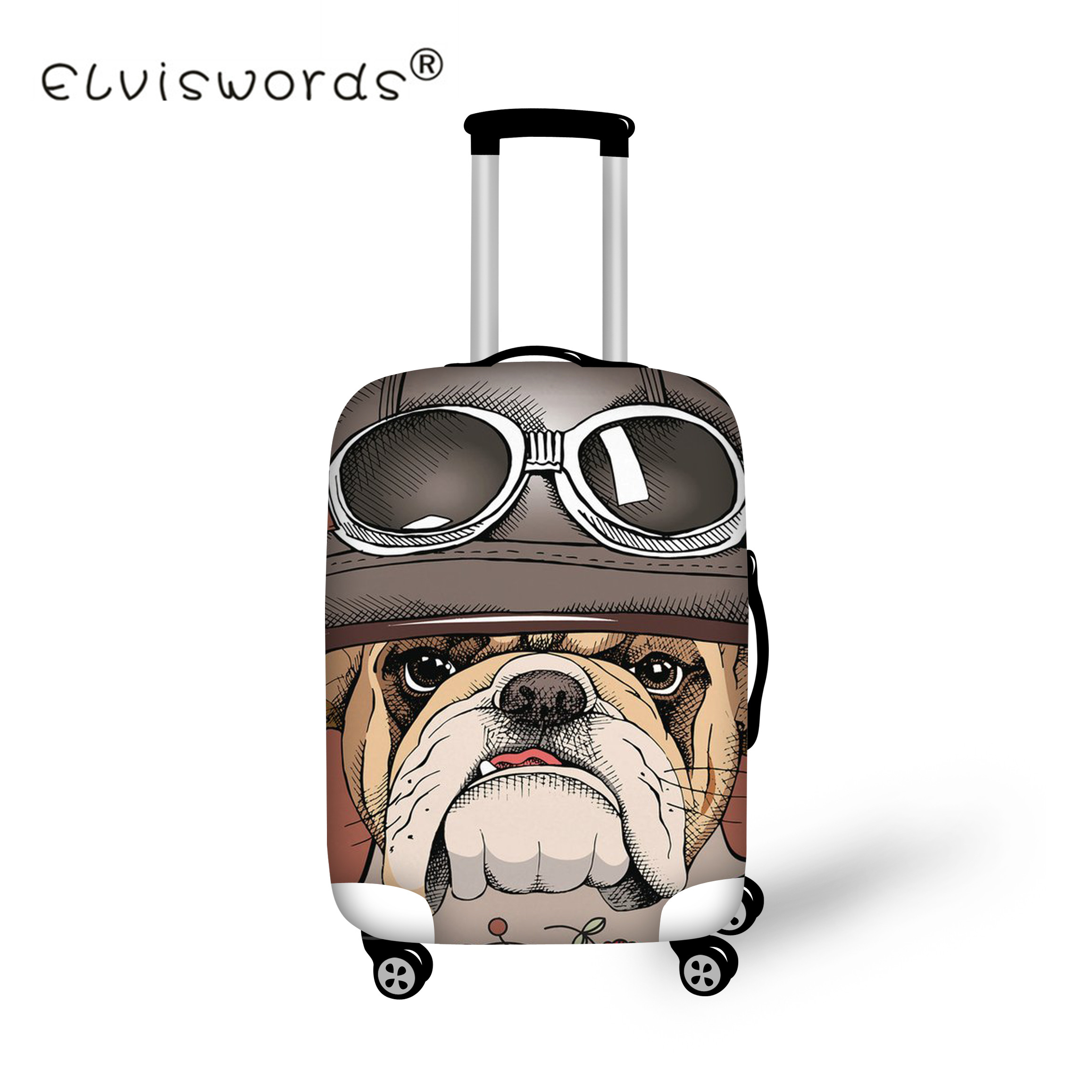ELVISWORDS Thick Travel Suitcase Protective Cover Animal Dog Print Travel Accessories Elastic Luggage Dust Cover for 18 -30 Inch