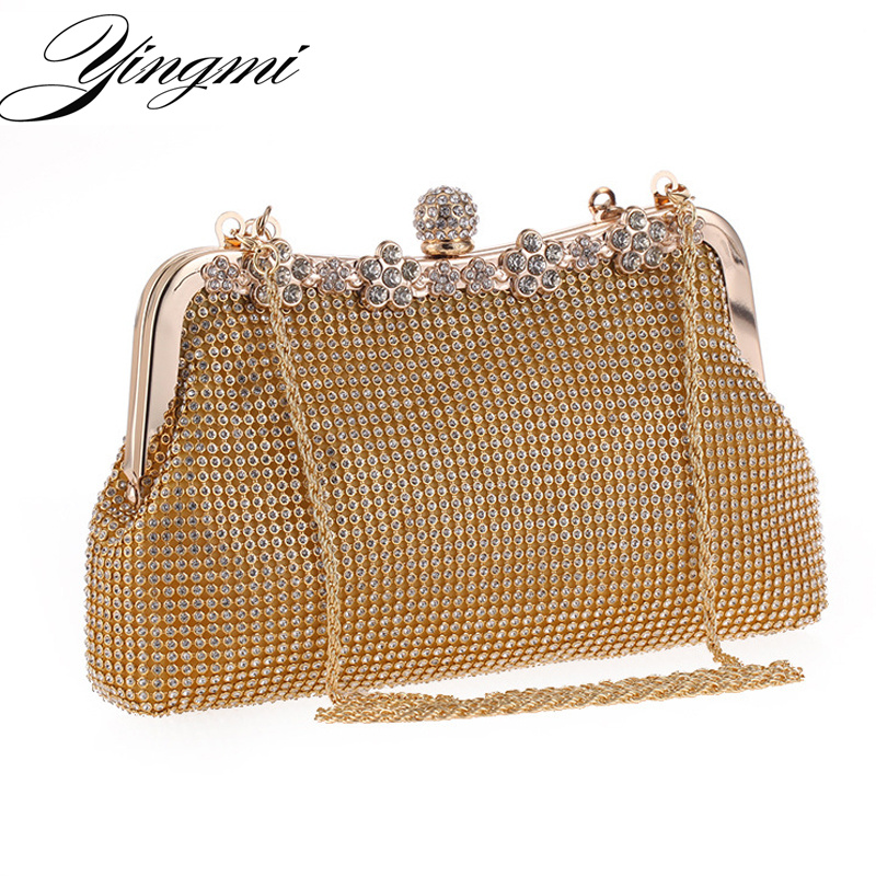 2017 New Arrival Full Rhinestones Women Evening Bags Metal Handle Chain Shoulder Small Purse Bags Diamonds Luxurious Evening Bag 2017 120cm diy metal purse chain strap handle bag accessories shoulder crossbody bag handbag replacement fashion long chains new