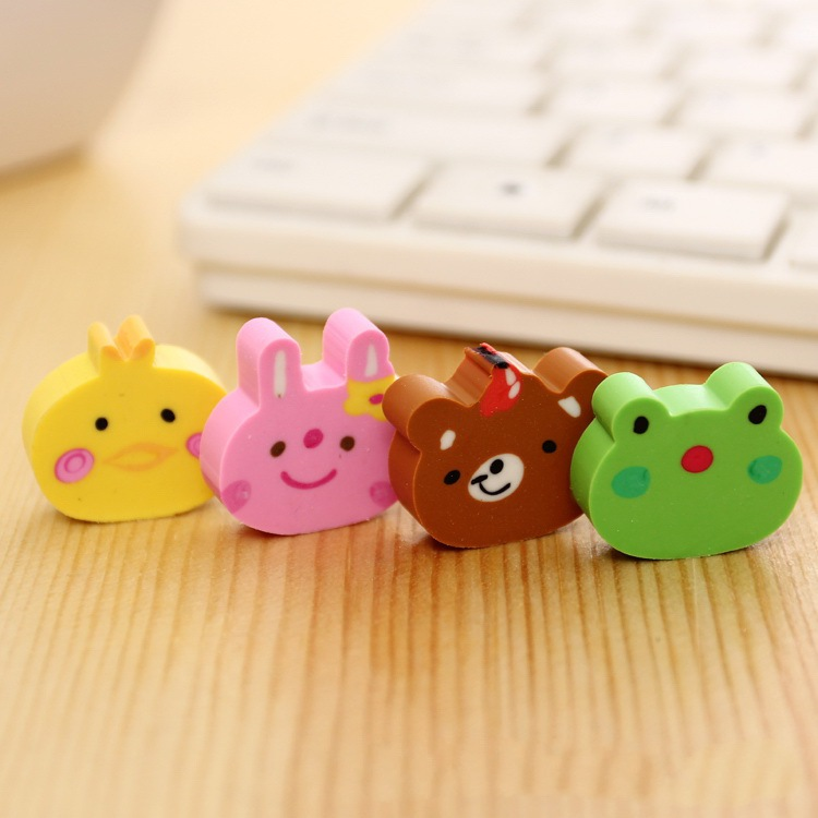 100pcs Kawaii Eraser Cartoon Animal Rabbit Frog Bear Chicken Pencil Erasers For Kids School Stationary Cute Prizes For Kids Gift