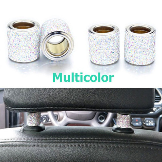 2Pcs Car Seat Crystal Headrest Decor Ring Collars Girls Rhinestone Diamond Bling For Women Rhinestone Car Interior Accessories