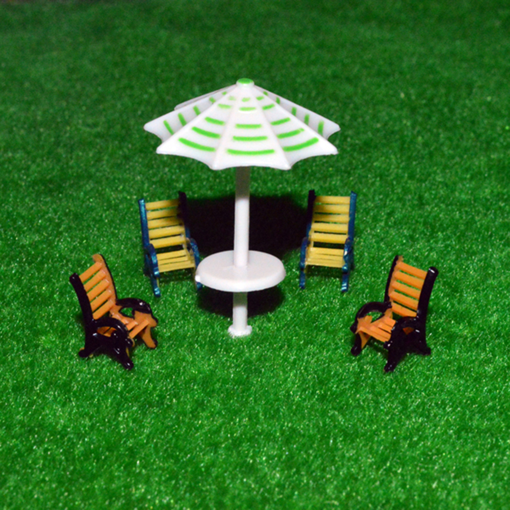 10pcs 1 50 scale model furniture model outdoor sunshade chair set for architecture sand table layout in Model Building Kits from Toys Hobbies