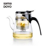Samadoyo High Borosilicate Glass Teapot Infuser 600ML Elegant Pot Blooming Flower Tea Set Teapot Glass Brewing Milk Oolong Tea