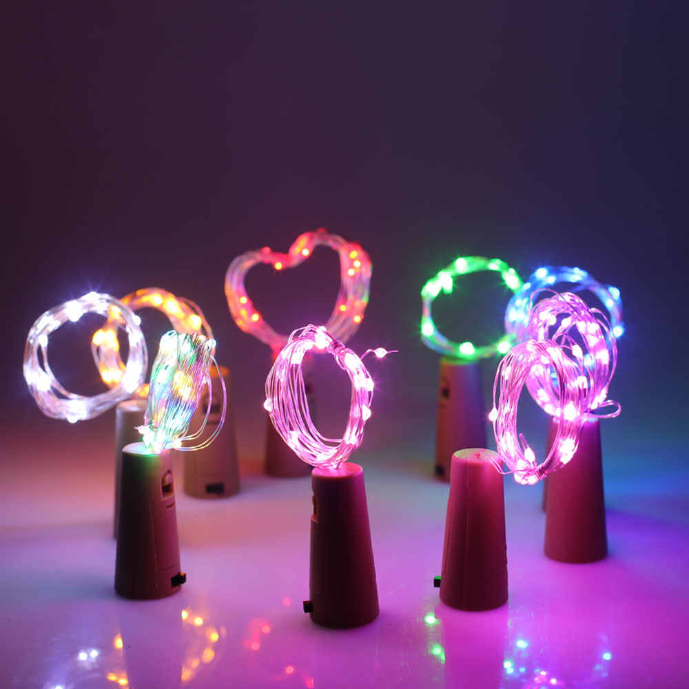 1M 10LED LED Cork Shaped Bottle Stopper Light Glass Wine LED Copper Wire String Lights For Christmas Lights Party Wedding