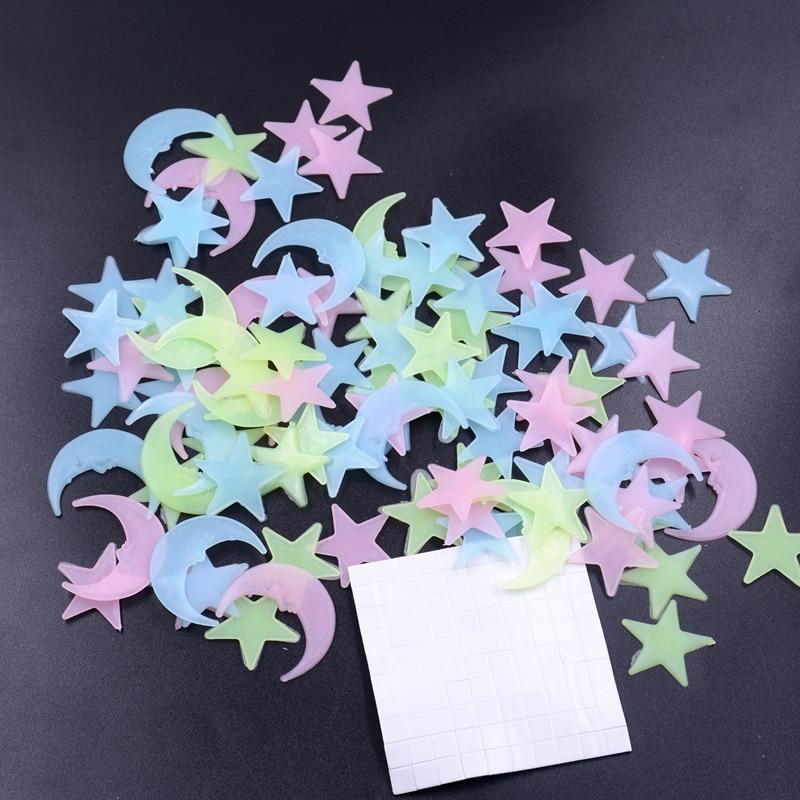 100 Unids Estrella y Luna de Almacenamiento de Energía Fluorescente Que Brilla E