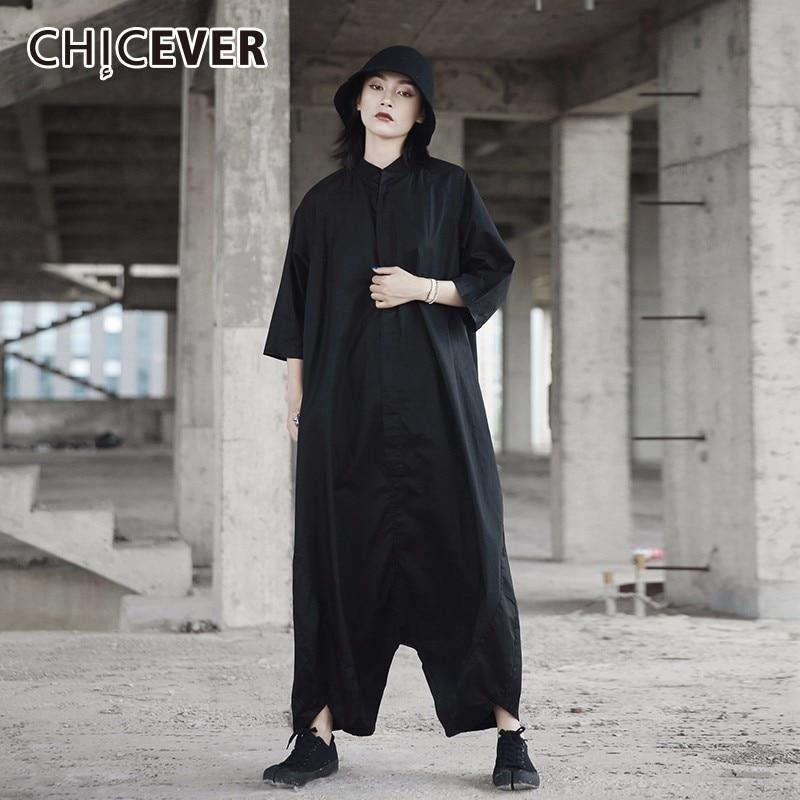 CHICEVER Black Womens Jumpsuit Loose Oversize Three Quarter Sleeve Hem Asymmetrical Summ ...