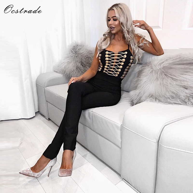 Ocstrade Sexy Bodycon Jumpsuit High Quality Women Summer Fashion 2019 New Arrival Embellished Lace up Black