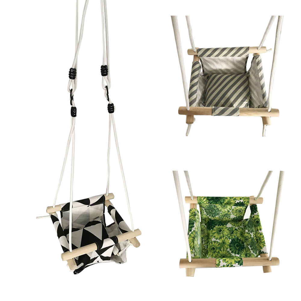 Baby Swing Hammock Seat Set Canvas Hanging Chair with Cushion Todder Outdoor Indoor Garden Wooden Swing