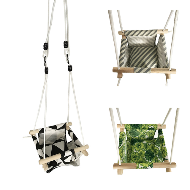 Baby Swing Hammock Seat Set Canvas Hanging Chair With Cushion Todder Outdoor Indoor Garden Wooden Rocker Load Bearing 50kg