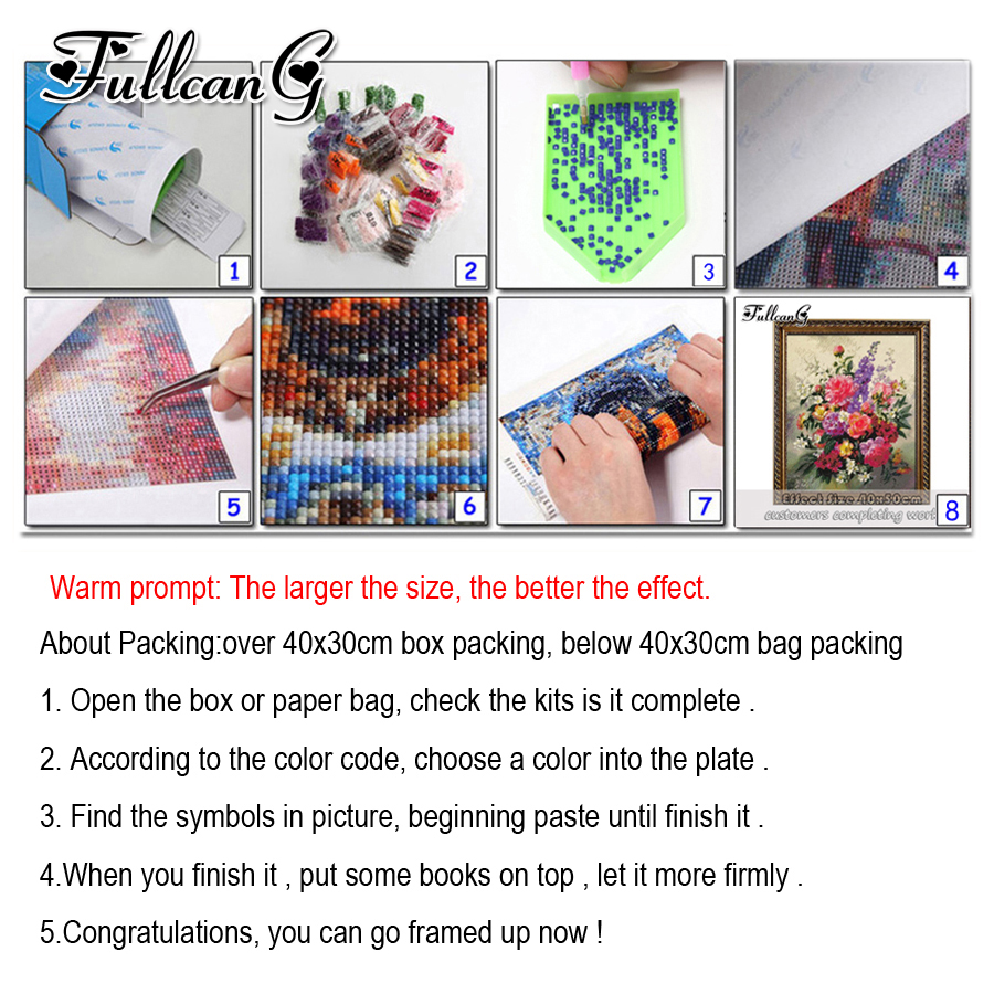 FULLCANG diy 5 pieces diamond painting three colors orchid full square round drill 5d embroidery flowers kits home decor FC842 in Diamond Painting Cross Stitch from Home Garden