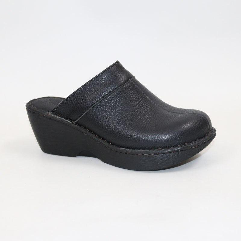 Leather slippers Comfortable sandals Women slippersHigh heel Muller slippers
