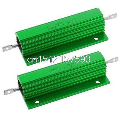 2 Pcs Green 100 Watt <font><b>0.3</b></font> <font><b>Ohm</b></font> 5% Aluminum Shell Wire Wound <font><b>Resistors</b></font> image