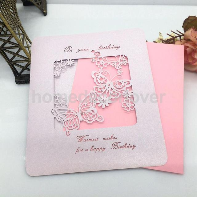 10lot Handmade Happy Birthday Greeting Card Hollow Out Butterfly