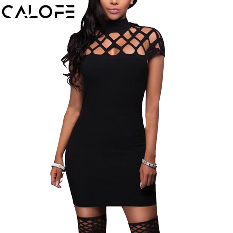 CALOFE Sexy Women Bodycon Dresses 2019 New Summer Slim Hollow Out Package Hip Short Sleeves Female Dress Plus Size XXXL 5XL
