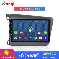 4G Lte All Netcom 9 inch Android 8.0 touch screen car audio dvd player for Honda Civic 2012 2015 GPS navigation
