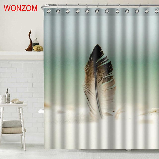 WONZOM 3D Polyester Fabric Feather Shower Curtains With 12 Hooks For Bathroom Decor Modern Basketball Bath Waterproof Curtain