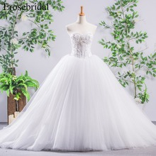 Sweetheart Ball Gown Wedding Dress beading and Pearl Lace Up Back Bridal Dress with Train Bridal Gown vestido de noiva YY324 недорого