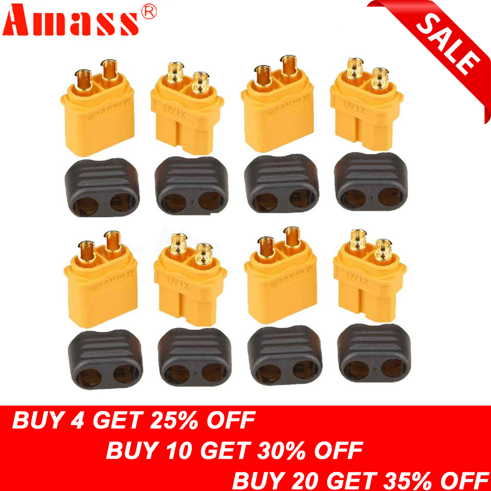 10 x Amass XT60+ Plug Connector With Sheath Housing 5 Male 5 Female (5 Pair )