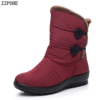 ZZPOHE 2018 Winter Fashion Waterproof Wedge Platform Women Boots Mother Ankle Boots Women's Slip On Flats Warm Snow Boots Shoes