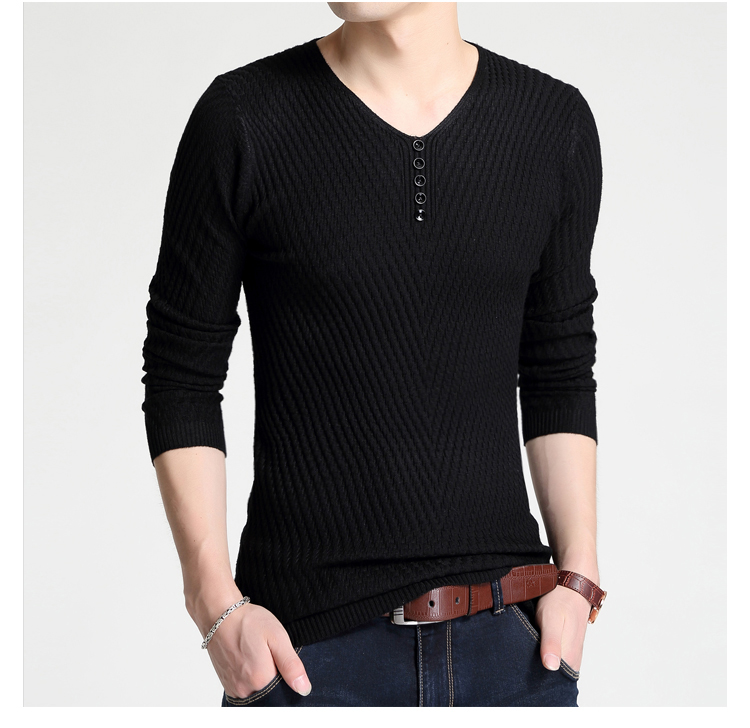 Men V Neck Long Sleeve Solid Color Pullover Sweater Wool Casual Cashmere Knitwear Slim Fit Pullovers