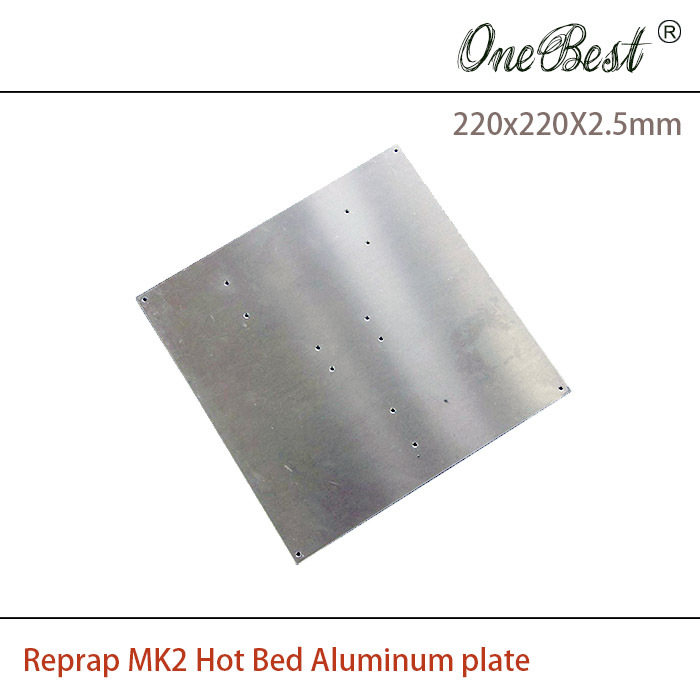 3D Printer Reprap MK2 Hot bed Aluminum plate compatible MK2a MK2b Aluminum heating plate size 220x220x2.5mm Free shipping