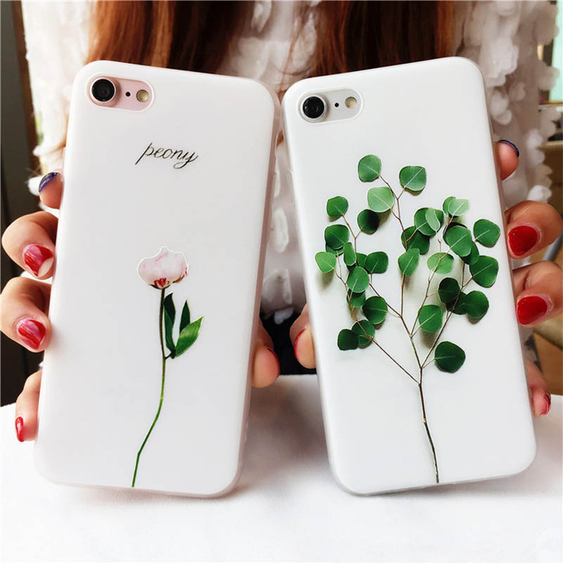 3D Vintage Soft Painting Plant Flower Spring Leaf TPU Gel Relief Cases For iphone 6 6 s 7 Plus Phone Case Cover Couqe Housing
