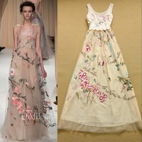 HIGH QUALITY Newest Fashion 2016 Designer Runway Maxi Dress Women S Charming Embroidery Gauze Patchwork Tank