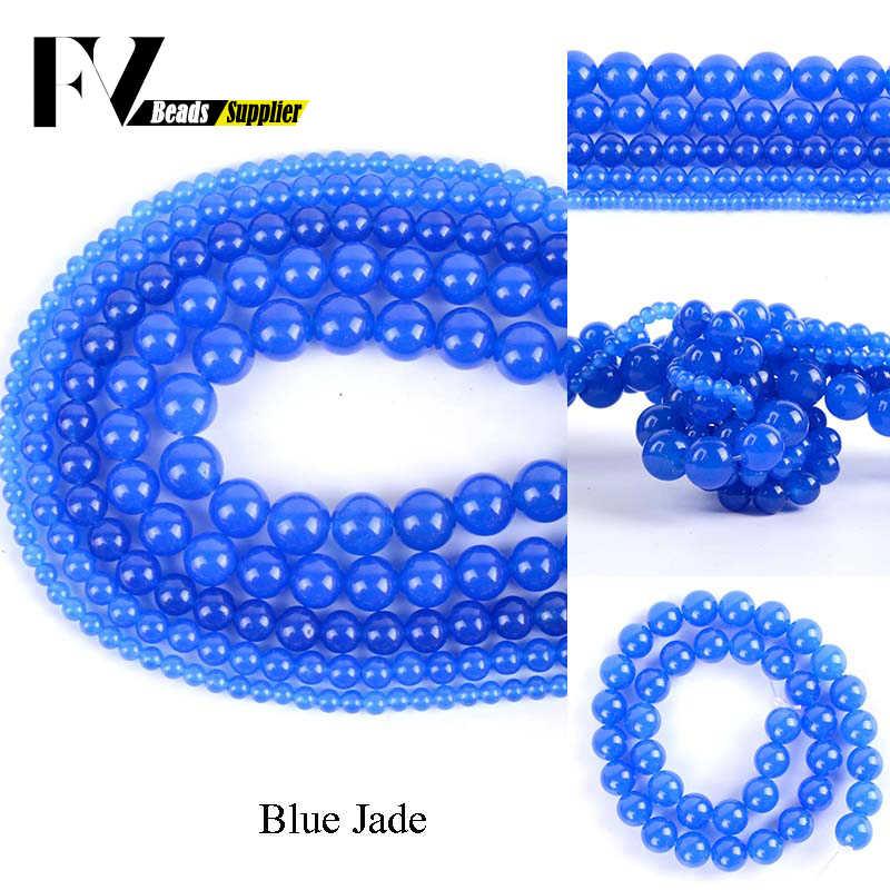 Naturalny niebieski Jades kamień okrągłe koraliki Diy biżuteria 4 6 8 10 12mm koraliki modułowe do tworzenia biżuterii akcesoria do rękodzieła 15 cali