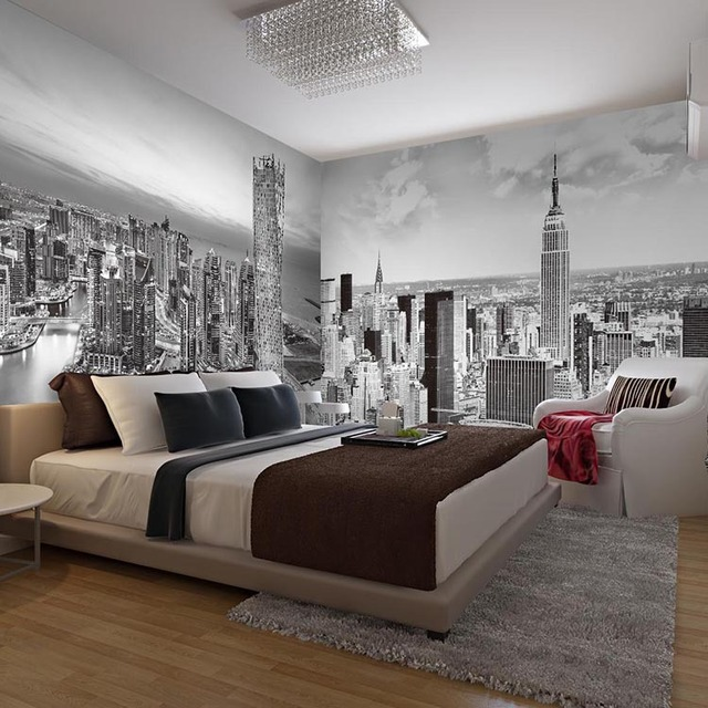 Large Black and white Mural New York city building 5d wall mural for