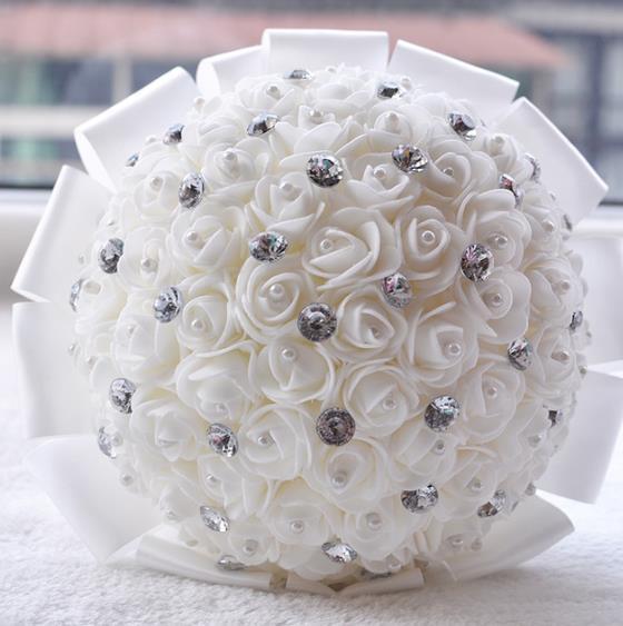 Schone Kunstliche Weiss Elfenbein Blau Rot Rose Hochzeit Blumenstrauss