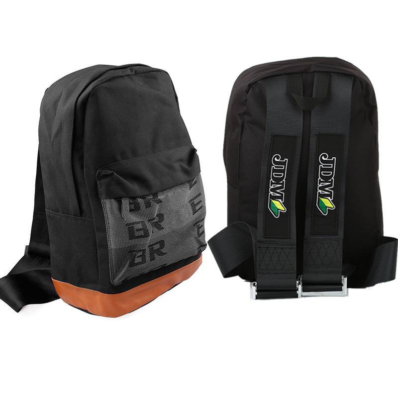 JDM Backpack Racing Tuning Bags School Travel Bag Fabric Straps Seat Belt Drift For Car Auto Enthusiast