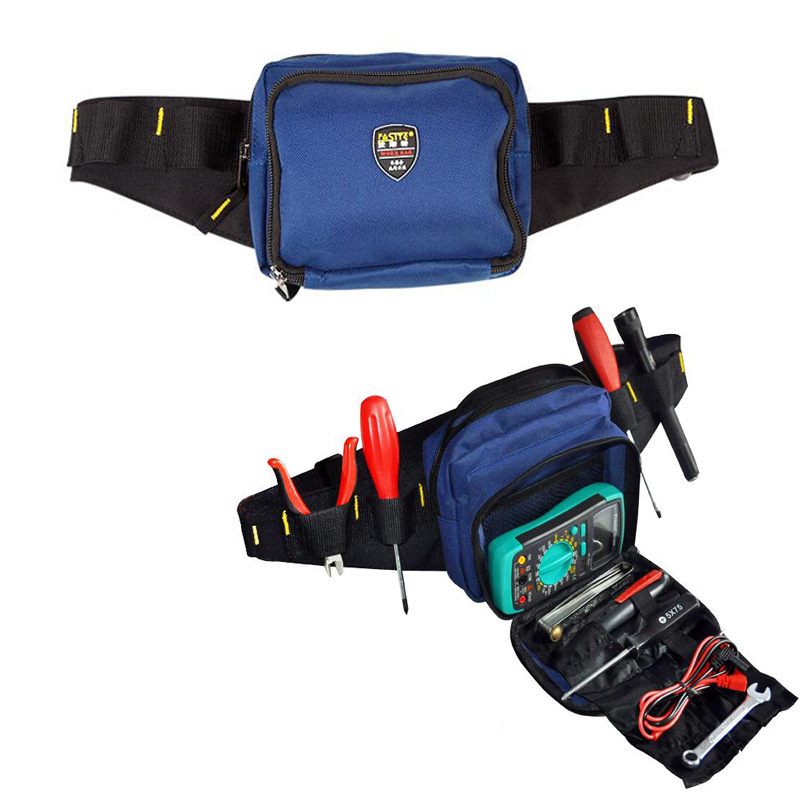 Jeafa Toolkit Waist Belt Bag Professional Electricians Tool Pouch Work Bag Blue
