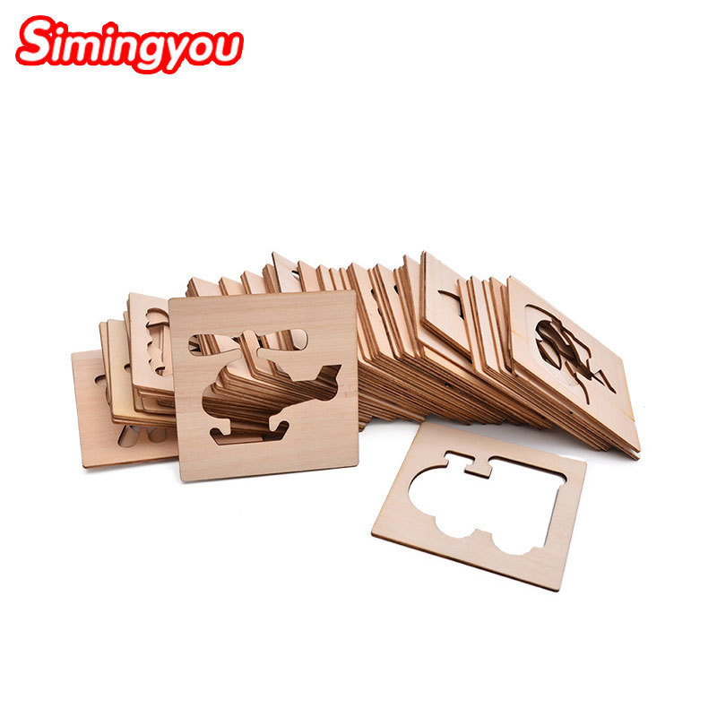 Simingyou Learning Education Children Fill Graffiti Template Shape Cognition Wooden Montessori Toys A50-16 Drop Shipping цена 2017