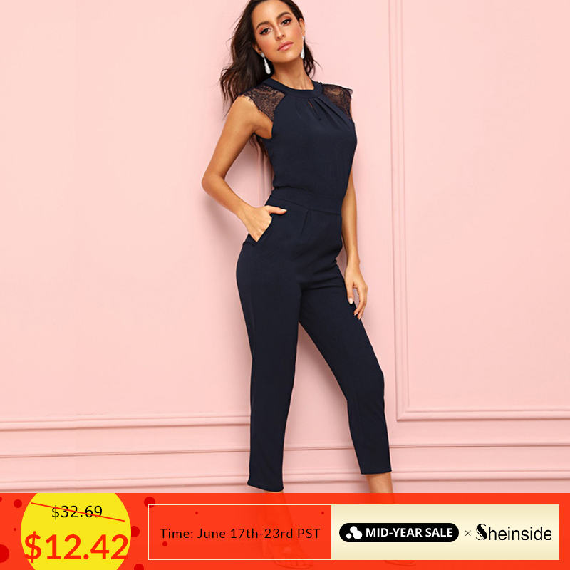 Sheinside Navy Eyelash Lace Cuff Pleated Jumpsuit Elegant Summer Jumpsuits For Women 2019 Solid Mid Waist Tapered Maxi Jumpsuit