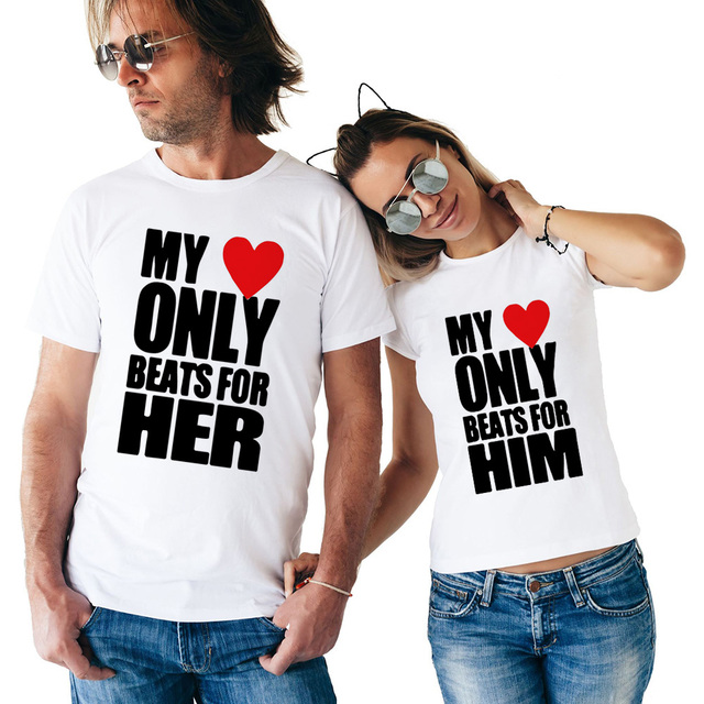 9a0f5f0197 My Heart Only Beats for Him & Her Couple T Shirts Summer Matching Couple  Clothes Men and Women Valentine's Tops Tees for Lovers