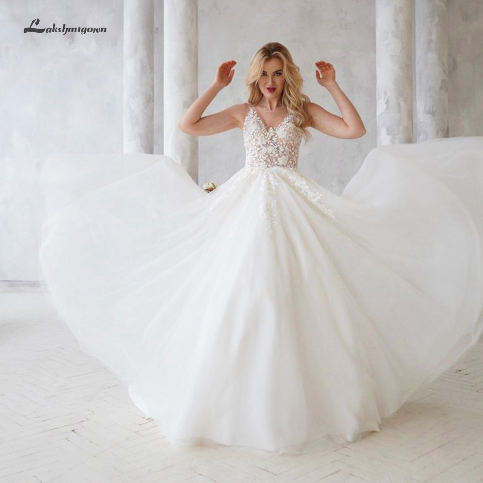 Lakshmigown Floral White Tulle Wedding Dress A Line 2019 Robe Mariee Elegant Long Bridal Dresses Sexy Lace Princess Wedding Gown