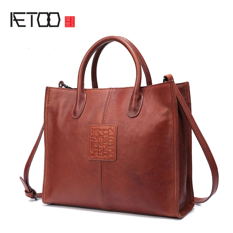 AETOO Female bag Europe and the United States fashion handbag new ladies shoulder bag large-capacity leather female Tote bag europe and the united states style first layer of leather lychee handbag fashion retro large capacity solid business travel bus