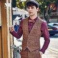 Brand Men Clothing Autumn Winter Fashion Retro 38.4%Wool men suit woolen vest waistcoat plaid mens formal wedding slim gilet