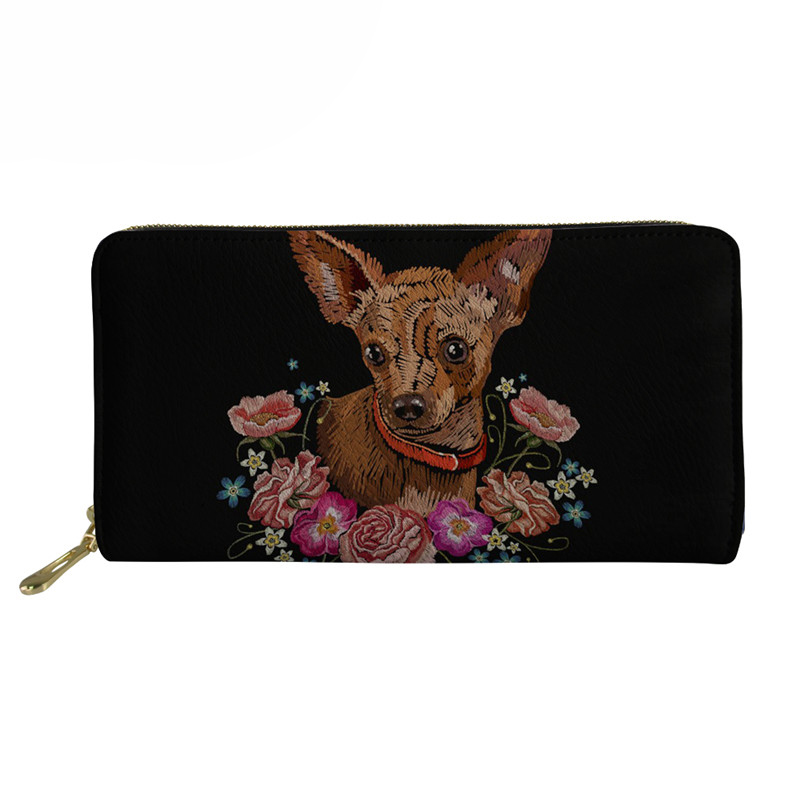 Black Wallets For Women Cute Chihuahua Printing Travel Passport Cover Coin Wallet Casual Womans Money Purse 2018